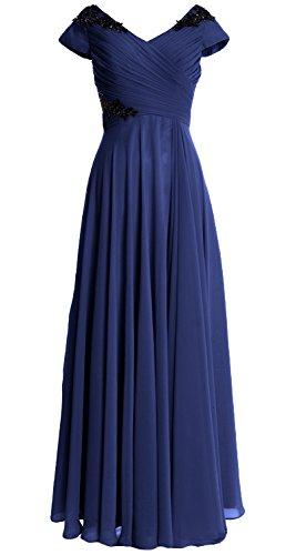 MACloth Women Cap Sleeve Long Mother of Bride Dress Wedding Party Formal Gown Dark Navy