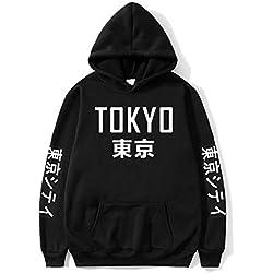 Dcola Hombre Fitness Street Sweater Moda Estilo Japonés Unisex Estudiante Ropa Deportiva Casual Sudadera con Estampado Suelto Adecuado para El Uso Diario(L,Black)