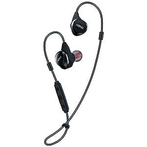 AOSO M16 Cuffie Bluetooth V4.1 con archetto regolabile, auricolare senza fili a Cancellazione del rumore con APT-X / Microfono per iPhone (7,6,5,4), Telefoni Android, IPX4 sweatproof per la corsa (nero)