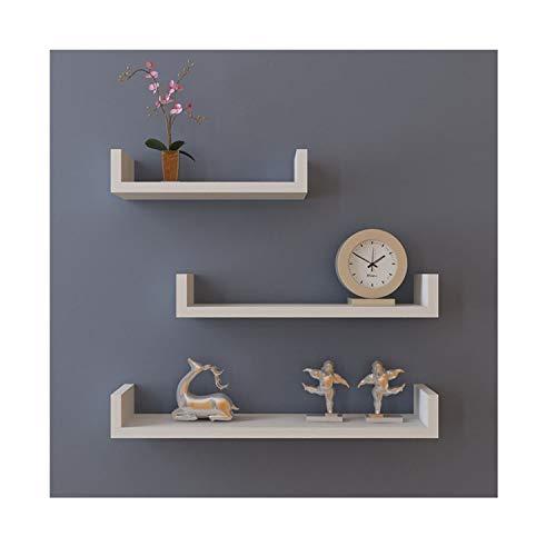 Buyi-world mensola a muro set di 3 mensole porta oggetti da parete, supporto in mdf scaffale libreria organizzatore di cd libri chiavi da salotto/studio/ufficio/corridoio/cucina/bagno (bianco)