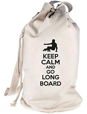 Keep Calm And Go Longboard, bedruckter Seesack Umhängetasche Schultertasche Beutel Bag