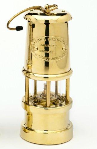Grubenlampe Messing poliert, mit 6 mm Runddocht, Höhe 170 mm, made by JD Burford, Wales -