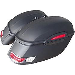 Alforjas rigidas para moto custom de 50 litros de capacidad. Color en negro mate. Viene con todo lo necesario para su instalación.