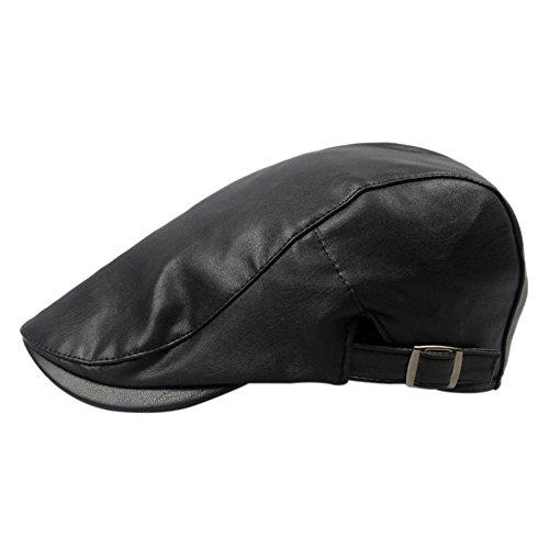 Wicemoon Sombrero de Boina de Hombre Gorra de Cuero de PU Sombrero de Invierno A Prueba de Viento Negro 55-60cm