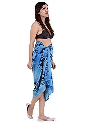 Handicraft-Palace Turquoise Elephant Printed Women's Sarong Pareo Wrap Sexy Cruise Wear Clothing Sarong Bikini Cover up Swimwear Cover Up Beautiful Sarong Cotton Beach Wear Swim wear Dress