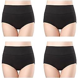 wirarpa Braguitas Culotte Algodón para Mujer Bragas de Cintura Alta Cómodo Faja Reductora Ajustan Shapewear Pack de 4 Talla 38