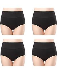 wirarpa Culottes Femmes Coton Taille Haute sous-vêtements Grande Taille Slip Elasticité Boxer Femme Ventre Plat Multipack