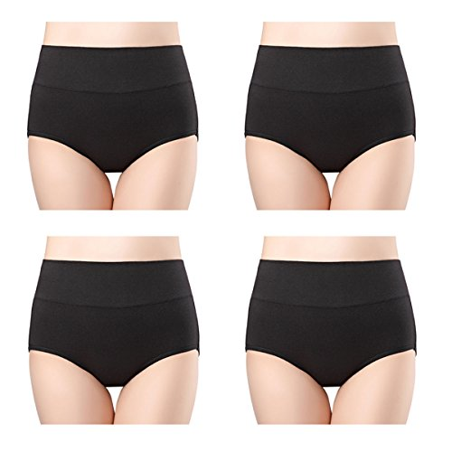 wirarpa Women's High Waist Cotton Knickers Soft Full Briefs Ladies Pants Underwear Panties Plain Black 4 Pack Size 16 18
