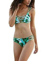 JINSH Sujetador Cruzado para Mujer Sujetador de 2 Piezas con Estampado de Hojas Bikini sin Espalda