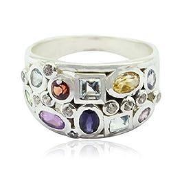 anelli di gemme naturali sfaccettate con pietre preziose a forma di gemma naturale – anello in argento con gemme…