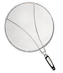 Philonext Edelstahl-Spritzer-Schirm-Schutz Mit Silikon-Klappgriff Anzug für viele Töpfe Pfannen Praktische Küchen Bratpfanne Öl Proofing Deckel, Silber, 10