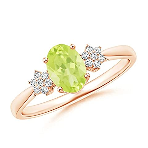 Tapered Oval Peridot Solitaire Ring with Diamond Clusters in 14K Rose Gold (7x5mm Peridot)