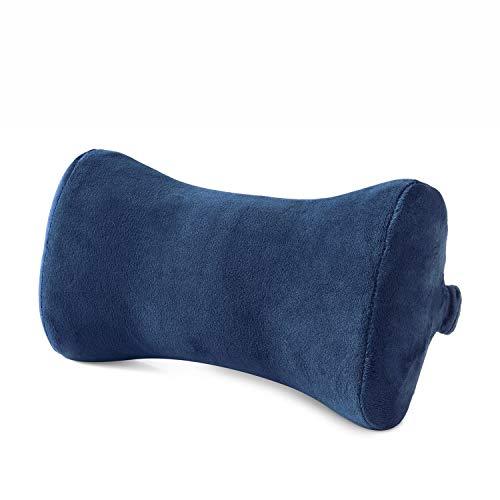Hankey cuscino supporto collo per auto in memory foam | cuscino da viaggio ergonomico per sedile auto, suv, bus, treno, aereo traspirante ipoallergenico blu scuro | 1 confezione – forma osso