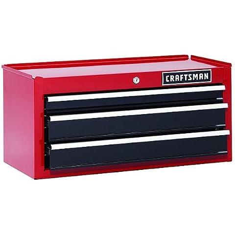 Craftsman 26in. 3cajones con rodamientos de bolas Medio Pecho Caja de herramientas, color rojo avalado por 6-year garantía limitada