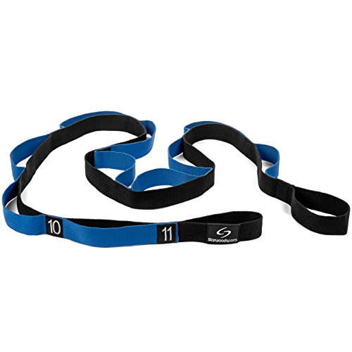 Stretching-Strap--Yoga-Stretch-Assist-Strap-with-12-Numbered-Loops--Improve-Flexibility-for-Dance-Gymnastics-Rugby-Football-and-Injury-Rehab-Black-with-Blue