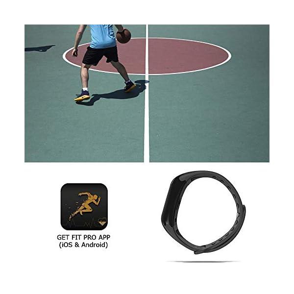 NK Pulsera de Actividad Inteligente Smartband-02, Frecuencia cardíaca, Monitor del sueño, Resistencia al Agua IP67, Podómetro, Color Negro 4