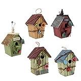 FLAMEER Alimentatore di Legno Solo per Uccelli Bird House per Casa, Interni, Esterni, Giardino, Patio - 5 Pezzi- ABCDE