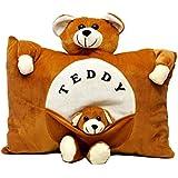 Aaradhya Enterprises Soft Teddy Baby Pillow For Kids, Brown (40 Cm)