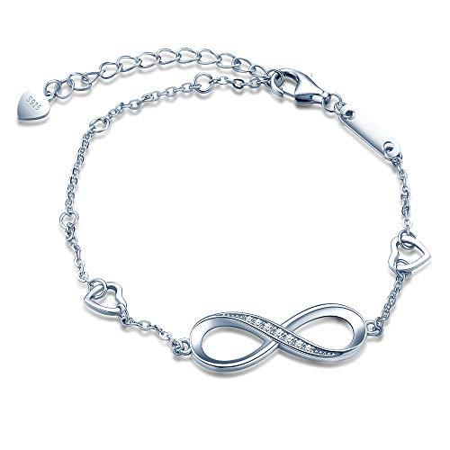 Mädchen Allergenfrei 925 Sterling Silber Armband Unendlichkeit Zeichen mit Doppel Herz Zirkonia Armreif Armkette ()