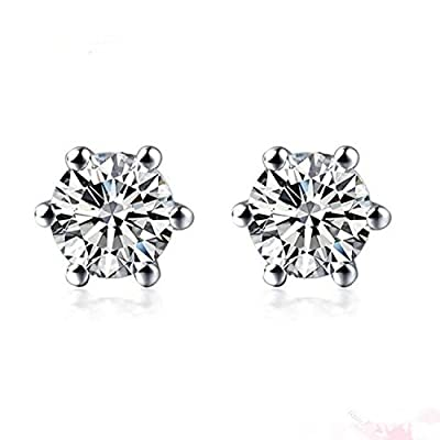 diamond earrings studs for women 1/5 carat in platinum