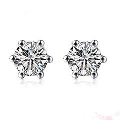 Idea Regalo - orecchini di diamanti e platino per le donne 1/10 carati