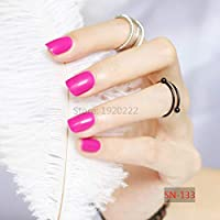 FARMERLY 24pcs short paragraph new cute candy color hot buy fake fingernails complete Rose red SN133: 5pcs