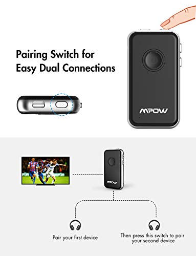 Bluetooth Transmitter Receiver, (aptx Low Latency,a2dp,12 Hour Play)  Built-in Mic Hands-free Call, Dual Link With Paring Button, Mpow Portable