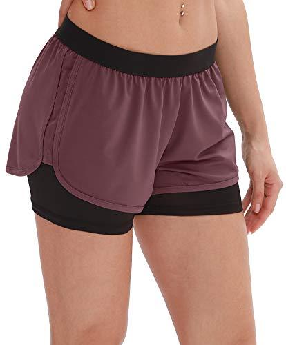 icyzone Damen Kurze Sport Hose Running Gym Workout Shorts 2 in 1 (M, Mauve Orchid)