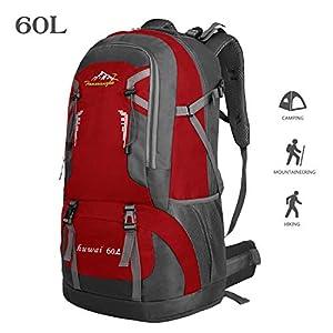 Bioasis 60L Mochila de Senderismo con Cubierta de Caminata Daypack de Gran Capacidad para Viaje Deporte Montañismo Trekking Camping al Aire Libre