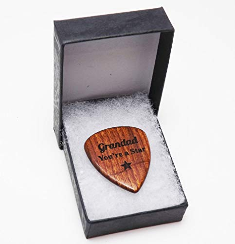 Guitar Pick/Plectrum in Solid Hardwood Personalised with name or message perfect for Birthdays and Anniversaries