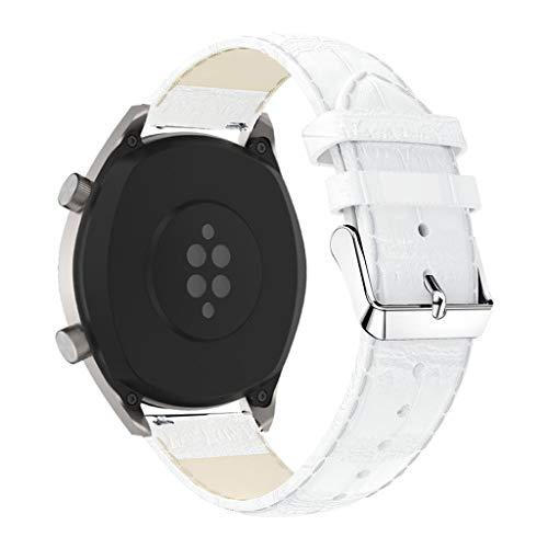 Armband für Huawei Honor magic 2, Smartwatch Zubehör Krokodilmuster Leder Ersatzarmband Armbänder Smartwatch für Männer Frauen (Weiß) - Uhrenarmbänder Weiß