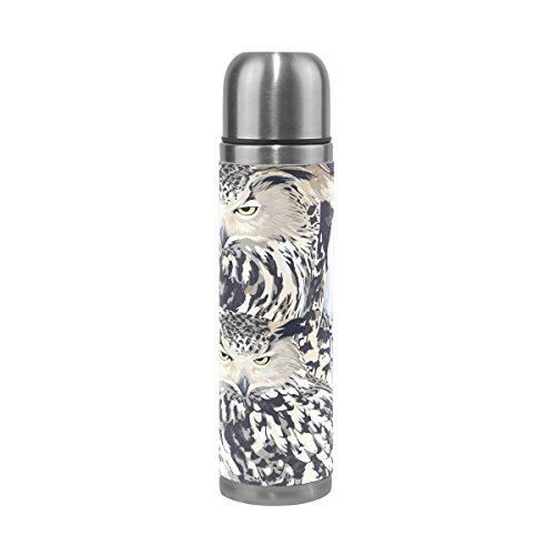 TIZORAX Eagle Eule und Polar doppelwandige Vakuum Cup Isolierte Edelstahl-Flasche Travel Becher Thermos Kaffee Tasse 17oz (Eule Thermo Becher)