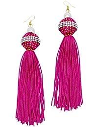 Deepika Padukone Long Multicolur Tassel Draping Extra Long Shoulder Duster Earrings For Women And Girls