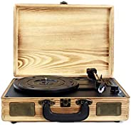 PRIXTON - Vintage Vinyl Turntable, Vinyl Player en Music Player via Bluetooth en USB, 2 Ingebouwde Luidspreker