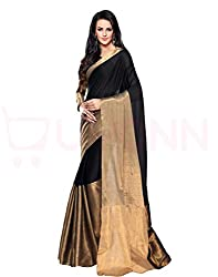 BuyOnn womens Cotton Black Saree_Free Size_OFS1102-BLACK-1