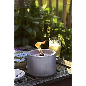 DAS PERFEKTE GESCHENK: Beske-Betonfeuer mit 'Dauerdocht' | Durchmesser 14cm 'gerade' | Wiederbefüllbare Gartenfackel | 'Unendliche' Brenndauer durch umweltfreundliches Recycling von Kerzenwachs