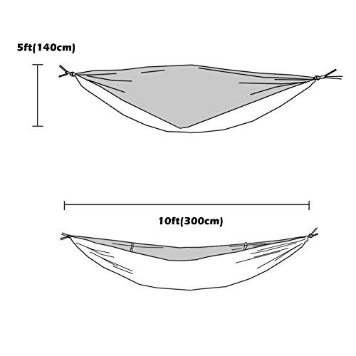OneTigris Camping Hängematte mit Moskitonetz (inkl. Karabiner und Seile) Belastbarkeit 200kg - 5