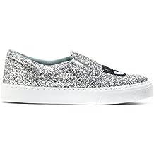 Chiara Ferragni Damen CF1897 Silber PVC Slip On Sneakers b1eb3d6c58