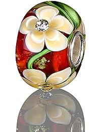 Andante-Stones - original, plata de ley 925 sólida, cuenta de cristal de la serie SEALIFE rojo, circonia beige, elemento bola para cuentas European Beads + saco de organza
