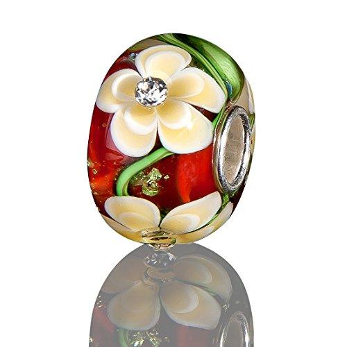 Andante-Stones 925 Sterling Silber Glas Bead Charm SEALIFE (Rot mit gelben Blumen und Zirkonia) Element Kugel für European Beads + Organzasäckchen (Orange Und Taupe Bettwäsche)
