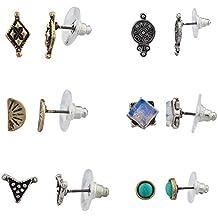 Lux accessori turchese tribale quadrato Disco antico più set di orecchini a perno