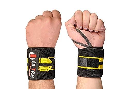 Ultra Poids Fitness® Power poignet de levage Wraps 45,7cm Long 7,6cm de large (ne pas 35,6cm Longueur comme vous pouvez voir d'autres Vendeurs) prend en charge Musculation haltérophilie Body Building Gym Protéines vendu comme une paire et une taille pour tous les, Noir/jaune