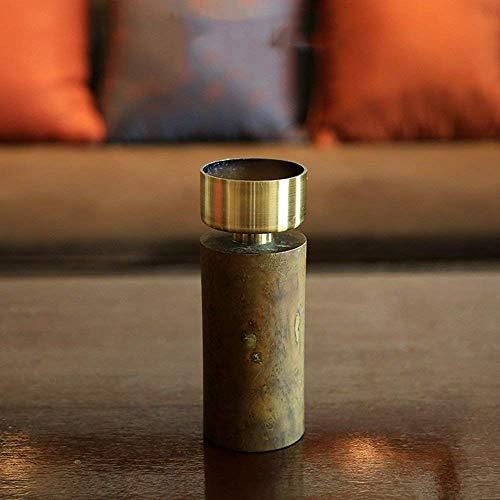 XQY Retro Kerzenständer Dekoration Kerzenhalter Holz und Legierung Material Romantische Mode Haushaltsgegenstände DREI Größen,A (8 * 21,5 cm)