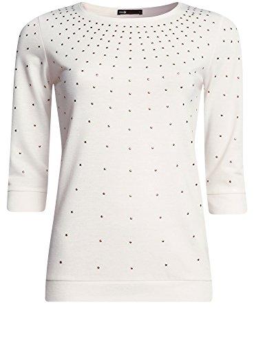 oodji Ultra Damen Pullover mit Metall-Strasssteinen und 3/4-Ärmeln Weiß (1200N)
