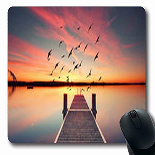 Luancrop Mousepads in Perspective View Hölzerner Sunset Pier am Teich Natur Jetty Oblong Gaming Mouse Pad rutschfeste Gummimatte