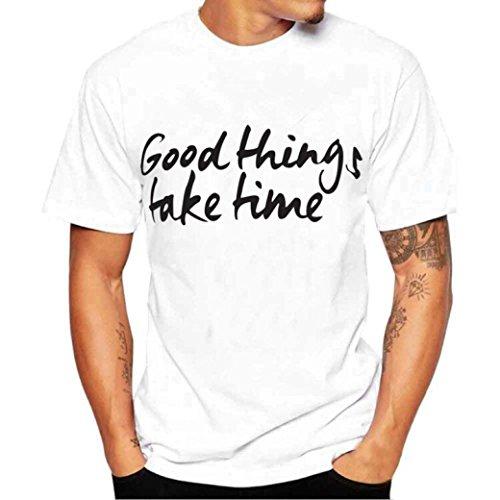 Holeider Männer Sommer Casual T-Shirt Bluse T-Shirt Hemd Kurzarm Alphabet Druck (XL) (Steigbügel-shirt Bleibt)