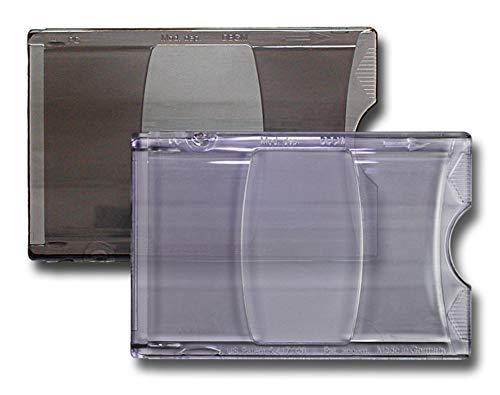 Waizmann.IDeaS® 5x TRANSPARENT GRAU - Ausweishalter Ausweishülle Schutzhülle Kartenhülle 90mm x 57mm CR80 Daumenausschub EC Karten Plastikkarten Scheckkarten Bankkarten Kreditkarten