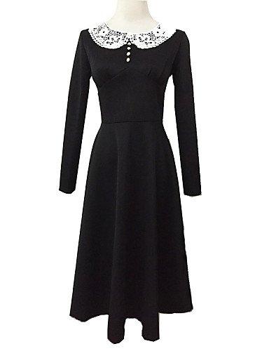 PU&PU Robe Aux femmes Swing Vintage,Couleur Pleine Col Arrondi Mi-long Polyester RED-XL