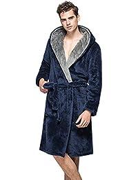 EOZY Women Men Home Hoodie Gown Thick Bathrobe Long Fleece Bathing Robe