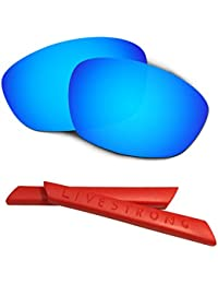 HKUCO Blue Polarized Replacement Lenses plus Red Earsocks Rubber Kit For Oakley Straight Jacket£¨2007